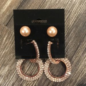 Jewelry - Crystal rose gold circle earrings and pearl studs